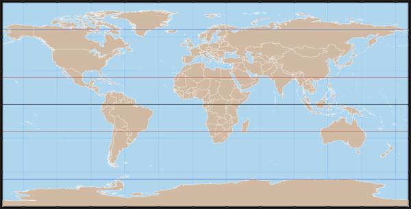 Weltkarte - Äquator, Wendekreise und Polarkreise