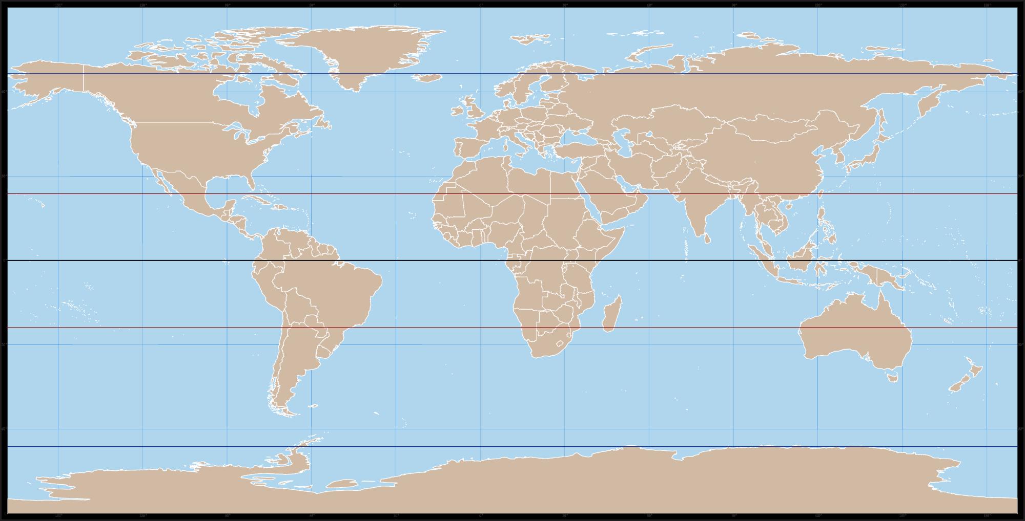 weltkarte mit äquator Weltkarte   Äquator, Wendekreise und Polarkreise | Weltkugel Globus.de weltkarte mit äquator